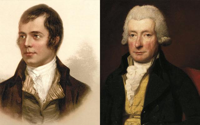 Robert Burns, left, and William Cowper