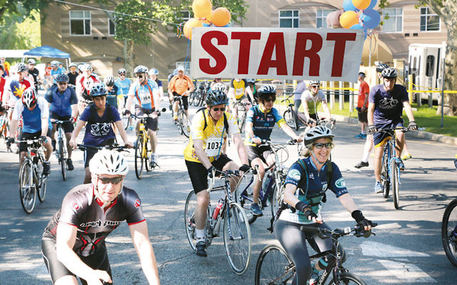 Last year's bikers start the race at the Jewish Home at Rockleigh.