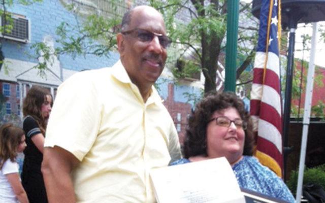 Assemblyman Gordon Johnson with Janice Preschel.