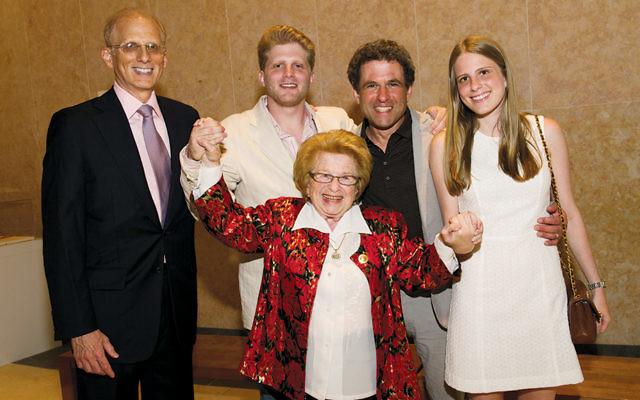 Museum of Jewish Heritage trustee Dr. Ruth Westheimer with son-in-law Joel Einleger, grandson Ari Einleger, son Joel Westheimer, and granddaughter Leora Einleger. (Courtesy MJHNYC)