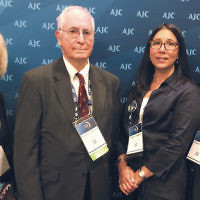 Earlier this month, 2,500 Jewish activists attended the American Jewish Committee Global Forum in Washington, D.C. More than 60 of them came from New Jersey, including Simone Wilker, left, with Eugene Lipkowitz, Shari Haber, and Alain Sanders. (Photo provided)