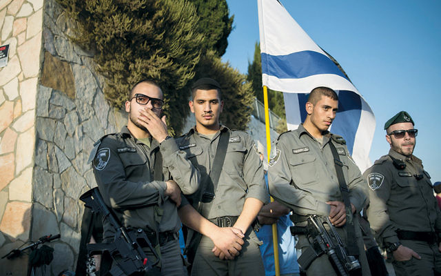 Soldiers attend the funeral of Alon Albert Govberg, who was killed in a terror attack in Jerusalem last October. (Hadas Parush/Flash90)