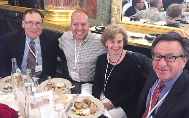 From left, Dr. Leonard Cole, the federation's Jason Shames, and Carol and Alan Silberstein of Tenafly are at the Jewish Agency meeting in Paris.