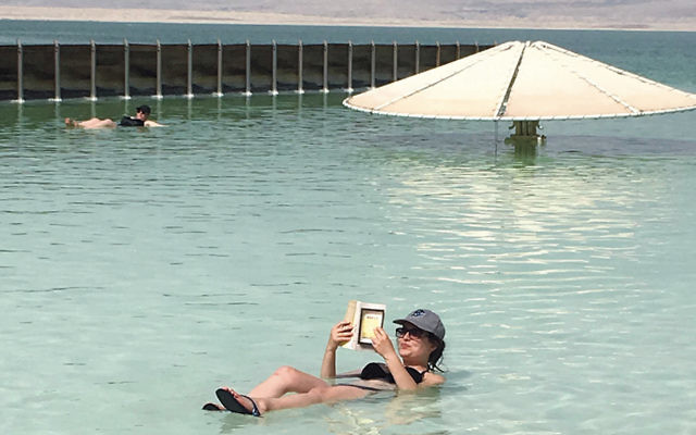Eve Litvak floats in the Dead Sea.