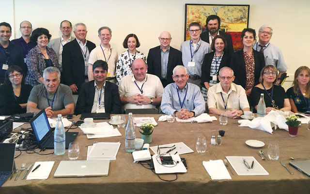 The 30 participants in the recent Soroka University Medical Center and Israel Healthcare Foundation symposium sit together. Sharsheret's executive director, Elana Silber, is at the bottom right.