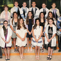The religious school at Temple Sinai of Bergen County held a ceremony for its confirmation class on Shavuot. Here, in the front row, from left, are Cantor Nitza Shamah, Susannah Abrams, Emily Matteson, Billie Singer, and Sophia Wolmer. Maya Simon, Kate Klein, Bailey Kaplan, Alexa Miller, and Rabbi Jordan Millstein are in the middle row, and school director Sara Kaplan, William Goldman, Aidan Kluger, Eli Gold, Lucas Goldman, and Zachary Benjamin are in the back. (Courtesy Sinai)