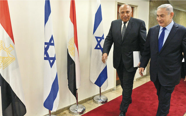 Prime Minister Benjamin Netanyahu, right, and Egyptian Foreign Minister Sameh Shoukry meet in Jerusalem on July 10 to discuss heightened security arrangements in Sinai. (GPO)