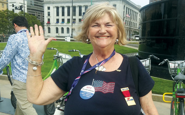 Judy Jackman, a member of Christians United for Israel from Texas, says she appreciates what she calls Trump's honesty and outsider status. (Photos by Ben Sales)