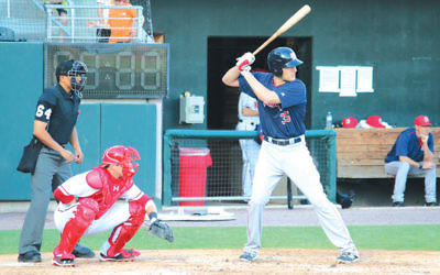 Nate Freiman is at bat for the Portland Sea Dogs in a game against the Harrisburg Senators in Pennsylvania in May. (Hillel Kuttler)