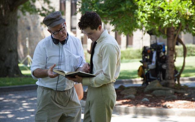 "James Schamus, left, and Logan Lerman on the set of ""Indignation."" (Alison Cohen Rosa)"