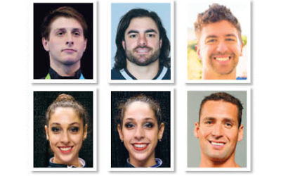 Top left, Eli Dershowitz, Nate Exner, and Anthony Ervin. Bottom left, Monica Rokhman, Jennifer Rokhman, and Merrill Moses