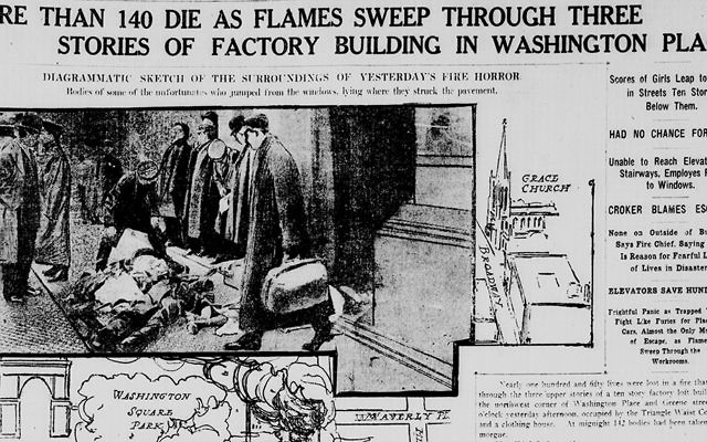Headlines in the New York Tribune describe the tragedy of the Triangle Shirtwaist fire.