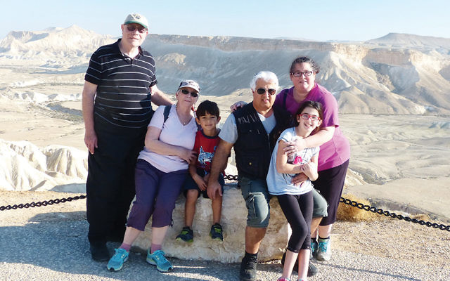 The family gathers at Mitzpe Ramon in Israel; from left, Alexa's grandfather, Sam Warsoff; her grandmother, Sue Romanoff; her younger brother, Zevick Shachar; her father, Albert Shachar; Alexa, and her mother, Cindy Shachar.