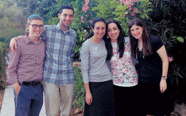 Summer Science Research Interns from Bergen County, left to right: Netanel Paley, Yoni Schwartz, Tamar Felman, and Chaya Apfel of Teaneck, and Ilana Karp of Fair Lawn.
