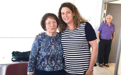 Rachel Schwartz, at right, stands with Holocaust survivor Yehudit Kleinman, who originally was from Italy. Ephraim Kaye, the director of the International Seminars for Educators department at Yad Vashem's International School for Holocaust Studies, stands behind them. (Courtesy of Rachel Schwartz)