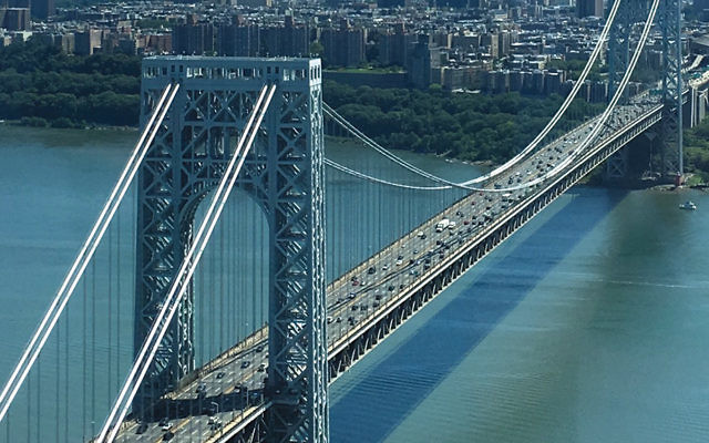 The iconic bridge connecting New Jersey and New York.