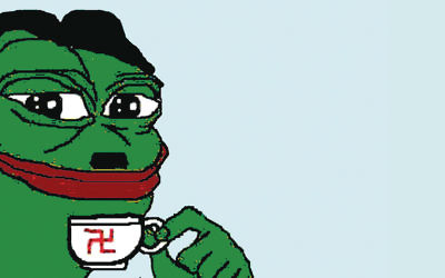 Pepe the Frog, an internet meme, has become a symbol of the alt-right. (Twitter/Lior Zaltzman)