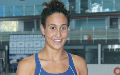 Andrea Murez recalls Israelis telling her at the 2013 Maccabiah Games that she should swim for Israel — and now she is. (Hillel Kuttler)