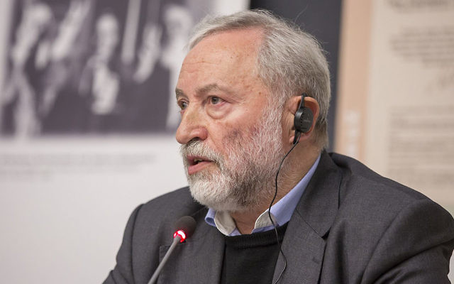 Josef Zissels attending a University of Cologne conference on minorities in Ukraine, 2014. (Courtesy of Vaad)