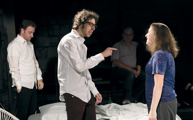 """Mike Gardiner, background, David Meyers, and Molly Heller rehearse for """"Bad Jews"""" at the Black Box Performing Arts Center. (Glenn L. Photography)"""
