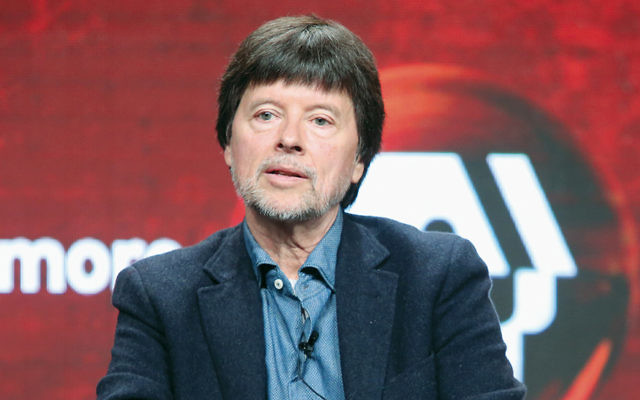 """Ken Burns speaks at a panel on """"Defying the Nazis: The Sharps' War"""" at the Beverly Hilton Hotel this summer. (Frederick M. Brown/Getty Images)"""