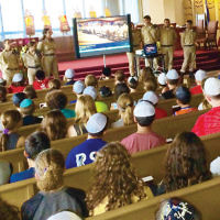Ten Israeli Air Force cadets talked to a crowd of 300, including students, faculty, and parents from the religious school at Temple Emanuel of the Pascack Valley in Woodcliff Lake. The Jewish Federation of Northern New Jersey sponsored the evening, as Temple Emanuel welcomed the new Partnership2Gether delegation from Nahariya, Israel, its sister city. The cadets showed a video and answered questions. A pizza dinner followed. (Courtesy TEPV)