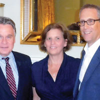 Congressman Chris Smith (R-NJ), left, is with Rena and David Schlussel at a Norpac event the Schlussels hosted in their Teaneck home. Rep. Smith is a senior member of the House Foreign Affairs Committee and chairman of the U.S. Helsinki Commission. (Courtesy Norpac)