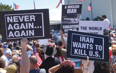 Hundreds of demonstrators in Los Angeles protest the Iran nuclear deal last summer. (Peter Duke)