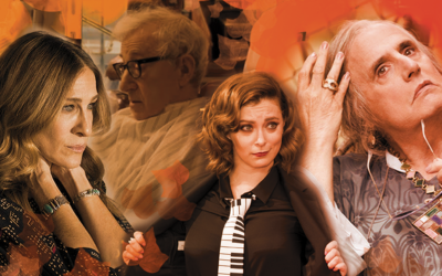 From left, Sarah Jessica Parker, Woody Allen, Rachel Bloom, and Jeffrey Tambor all star in fall premieres that Jewish viewers should watch. (Lior Zaltzman)