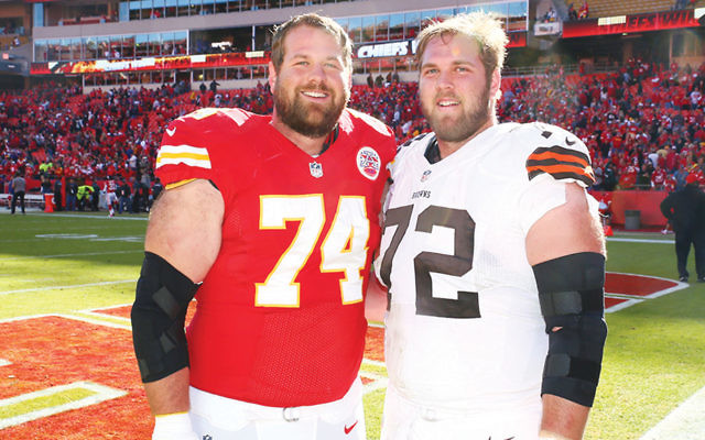Geoff, left, and Mitch Schwartz are the first pair of Jewish brothers to play in the NFL since 1923. (Olivia Goodkin and Lee Schwartz)