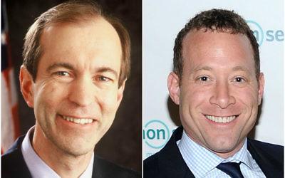 Rep. Scott Garrett, left, and his challenger in November, Josh Gottheimer (Jason Kempin/Getty Images for Common Sense Media)