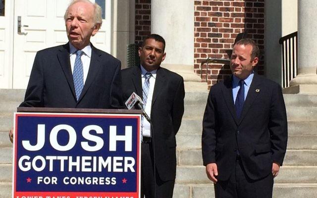 Joe Lieberman (left) endorses Josh  Gottheimer (right( Teaneck Mayor Mohammed Hameeduddin stands between them.