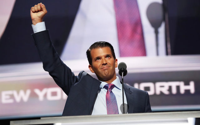 Donald Trump Jr. speaking on the second day of the Republican National Convention at the Quicken Loans Arena in Cleveland, Ohio, July 19, 2016. (Joe Raedle/Getty Images)