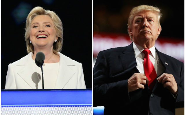 Hillary Clinton speaking on the fourth day of the Democratic National Convention in Philadelphia, July 28, 2016 and Donald Trump speaking on the fourth day of the Republican National Convention in Cleveland, July 21, 2016.(Paul Morigi/Getty Images, Joe Raedle/Getty Images)