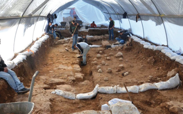 Israel Antiquities Authority excavation site in the Russian Compound of Jerusalem where scientists uncovered the Third Wall that surrounded the city in 70 CE. (Yoli Shwartz/Israel Antiquities Authority)