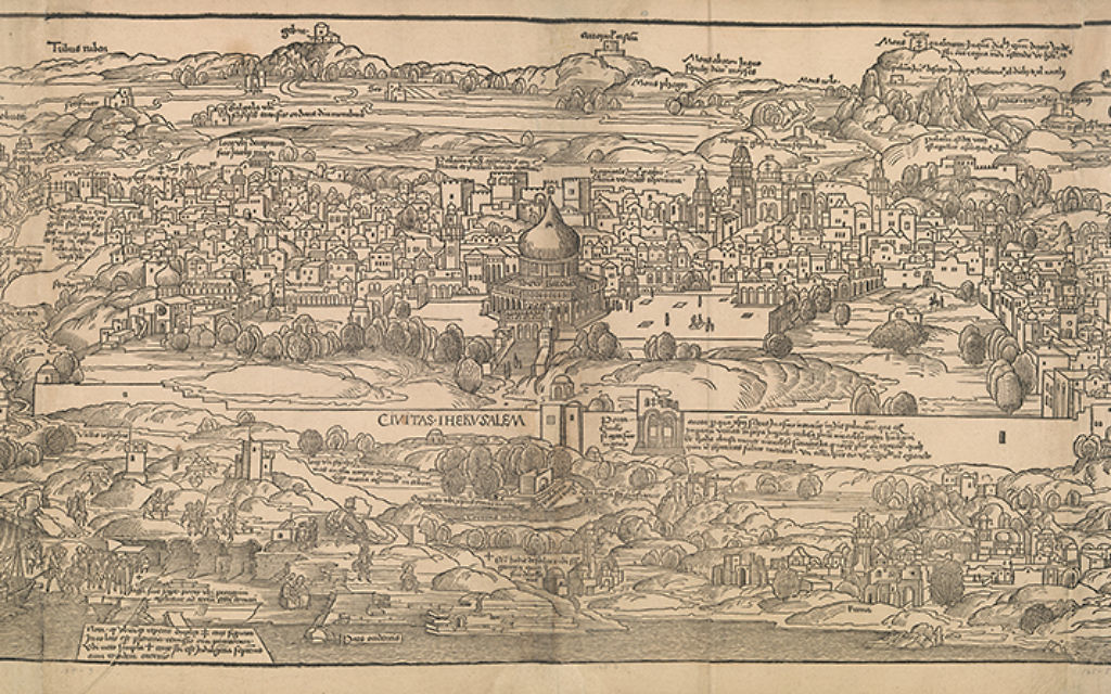 "Detail from ""View of Jerusalem"" from ""Journey to the Holy Land,"" Mainz, 1486, written by Bernhard von Breydenbach, designed by Erhard Reuwich, published by Peter Schoffer the Elder. The Metropolitan Museum of Art."