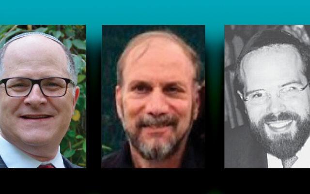 Alden Leifer, left, George Friedman, and Rabbi Larry Rothwachs