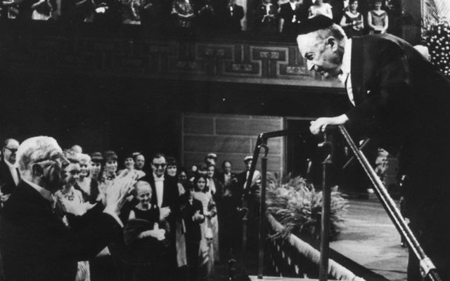 S.Y. Agnon receiving the Nobel Prize in Literature in 1966. (Courtesy YU)