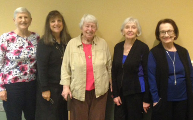 Ellie Lubin, center, with fellow NCJW members from left, Ann Levenstein, Nancy Ferer, Marcia Levy, and Bea Podorefsky. (Courtesy NCJWBCS)