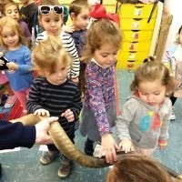 Gan Rina nursery students learned all about the shofar and used their five senses to  explore apples and honey. (Courtesy Gan Rina)