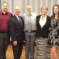 Susan and David Spiegel of Paramus were honored for their service and commitment at the annual Selichot service at the JCC of Paramus/Congregation Beth Tikvah. The honor was bestowed on David's parents exactly 30 years ago. Standing with the couple, from left, are Rabbi Arthur Weiner; their son, Max Spiegel; presenter Dr. Richard Winters; the honorees, and their daughters, Rebecca and Sara. (Courtesy JCCP/CBT)