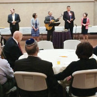 Congregants of Temple Emanuel of the Pascack Valley in Woodcliff Lake and Temple Beth Or in Washington Township joined to celebrate Selichot. From left, Rabbi Noah Fabrikant and Cantor Sarah Silverberg of Beth Or, and Cantor Emeritus Mark Biddelman, Cantor Alan Sokoloff, and Rabbi Loren Monosov of Temple Emanuel of the Pascack Valley. (Photo provided)