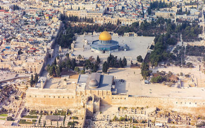 An aerial view of the Temple Mount in the Old City of Jerusalem. (Wikimedia Commons)