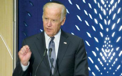 Vice President Joe Biden addresses a memorial for Shimon Peres in Washington on October 6. (Ron Kampeas)