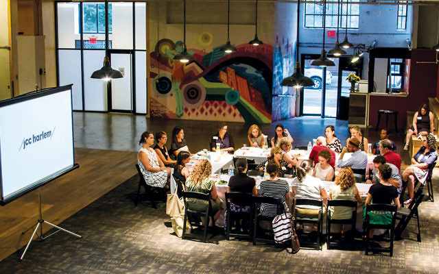 JCC Harlem holds a launch dinner in August. The 6,000-square-foot space will host Jewish and local community programs.