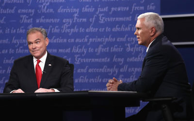 Democrat Tim Kaine, left, and Republican Mike Pence facing off in the vice presidential debate at Longwood University in Virginia, Oct. 4, 2016. (Win McNamee/Getty Images)