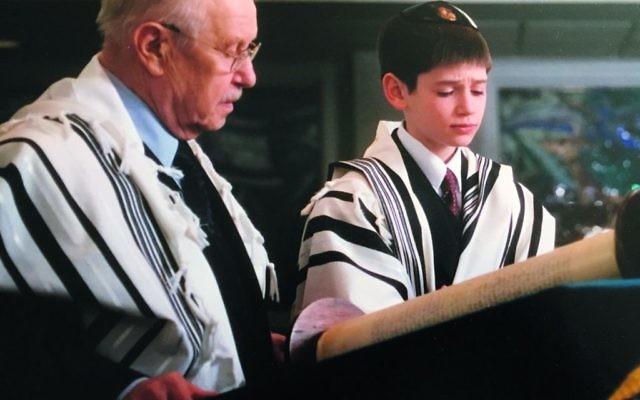 Judah Marans and his grandfather, Paul Kampler, at Judah's bar mitzvah.