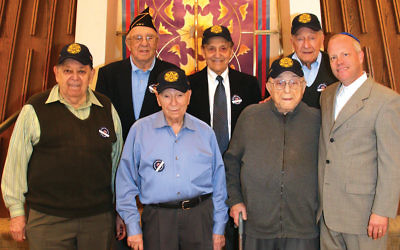 Cantor Eric Wasser, at left, stands with members of the Jewish War Veterans at the Fair Lawn Jewish Center/ Congregation B'nai Israel.