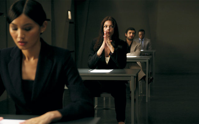 "A scene from the thriller ""Exam,"" the movie featured in Dr. Wendy Zierler's presentation."