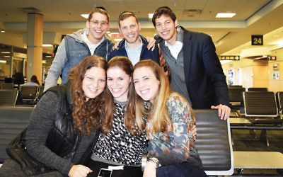 Torah Tours participants in Halifax, Nova Scotia, included, in top row, from left, Judah Max Dobrinsky of Teaneck, Shmuel Wagner of Long Island, and Yehuda Avner of Teaneck. In the bottom row, from left, are Deena Fuchs of Teaneck, Tamar Landsman of Teaneck, and Tamar Fishweicher of Fair Lawn.